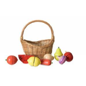 Set de fruits et legumes en bois dans son panier 3